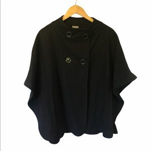 Ann Taylor black double breasted wool cape M/L